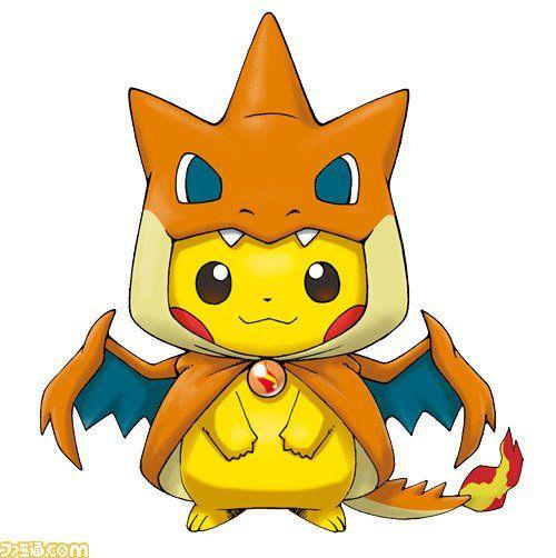 Pikachu wearing a Mega Charizard poncho takes kawaii to a whole new level