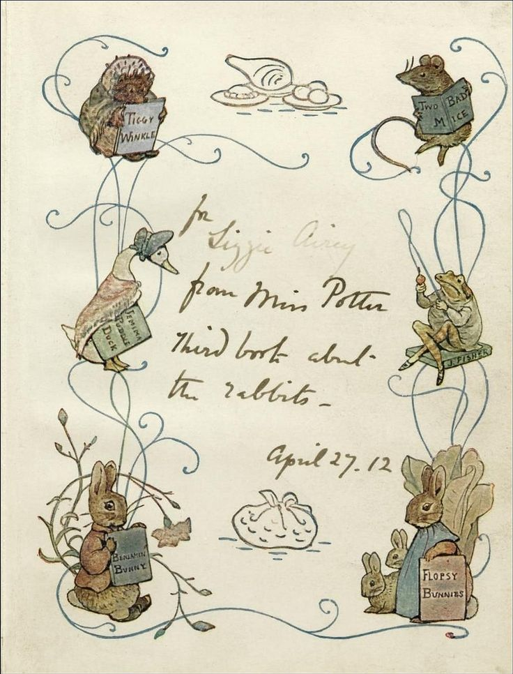The Tale of the Flopsy Bunnies. Frederick Warne and Co., 1909 ( dedication ) Source: Paul K on Flickr