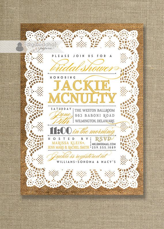 Yellow & Gray Lace Burlap Bridal Shower Invitation Vintage Shabby Chic Rustic Barn bridal shower  by digibuddhaPaperie, $23.00