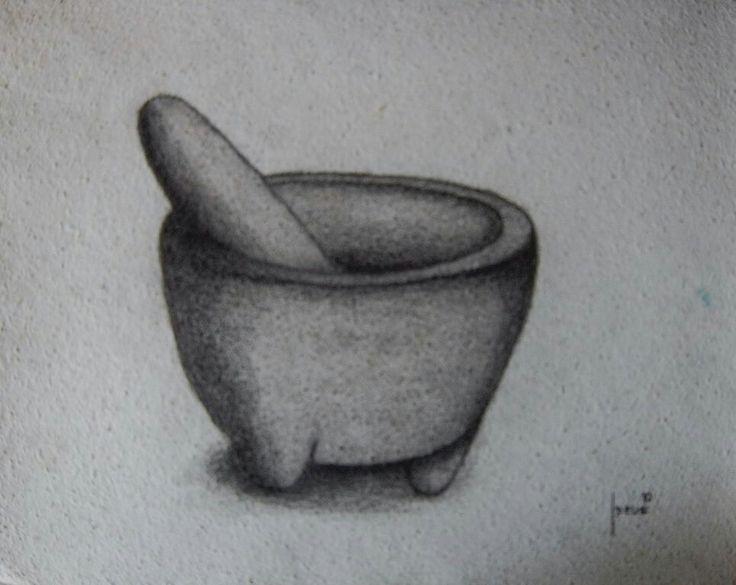 Molcajete. Carboncillo  sobre papel. 41x51cms. 2010. Jesús Martínez.