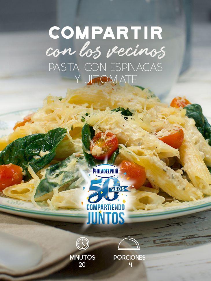 Recibe a tus nuevos vecinos con una rica cena y prepara esta deliciosa Pasta con espinacas y jitomate.   #recetas #receta #quesophiladelphia #philadelphia #crema #quesocrema #queso #comida #cocinar #cocinamexicana #recetasfáciles #pasta #vegetales #quesos #pastas #espinacas #jitomate