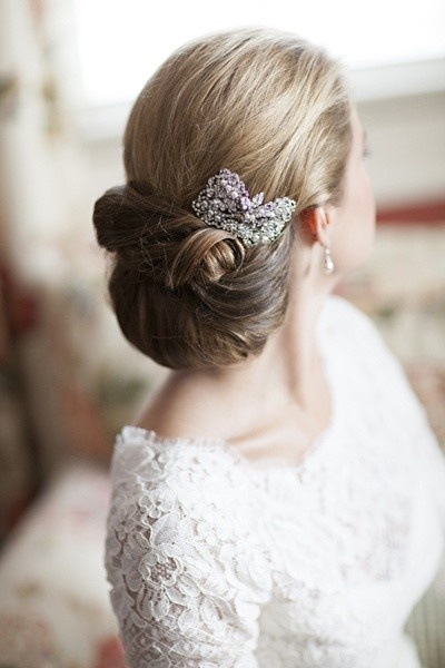 White and Gold Wedding. Bridesmaid Hair. Bridal Updo Hairstyle with Brooch
