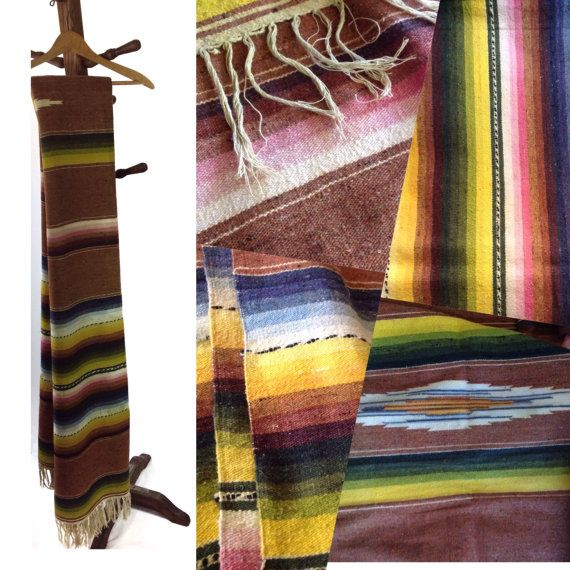 Large Authentic Vintage Mexican Serape Blanket Rug Wall