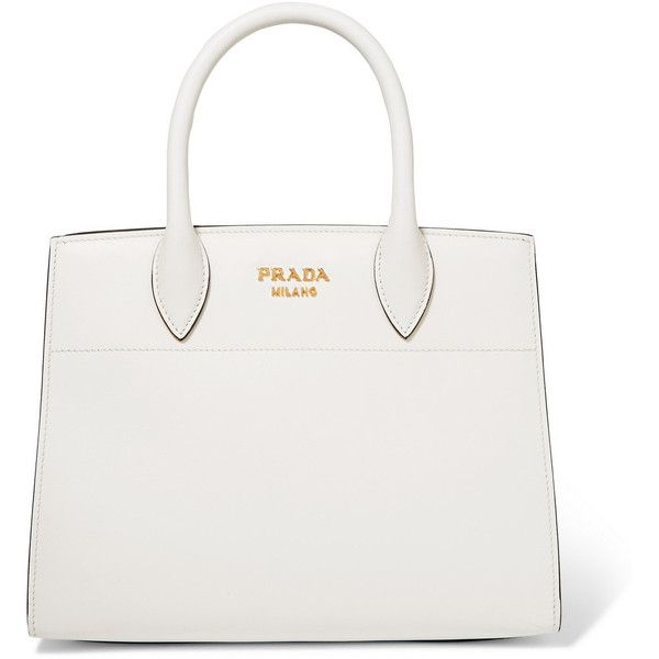 Prada Bibliothèque watersnake-paneled leather tote (12,275 MYR) ❤ liked on Polyvore featuring bags, handbags, tote bags, totes, сумки, white leather purse, genuine leather tote, prada purses, prada tote bag and leather tote purse