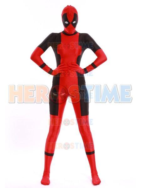 2014 Newest Lady Deadpool Costume Spandex Zentai Suit