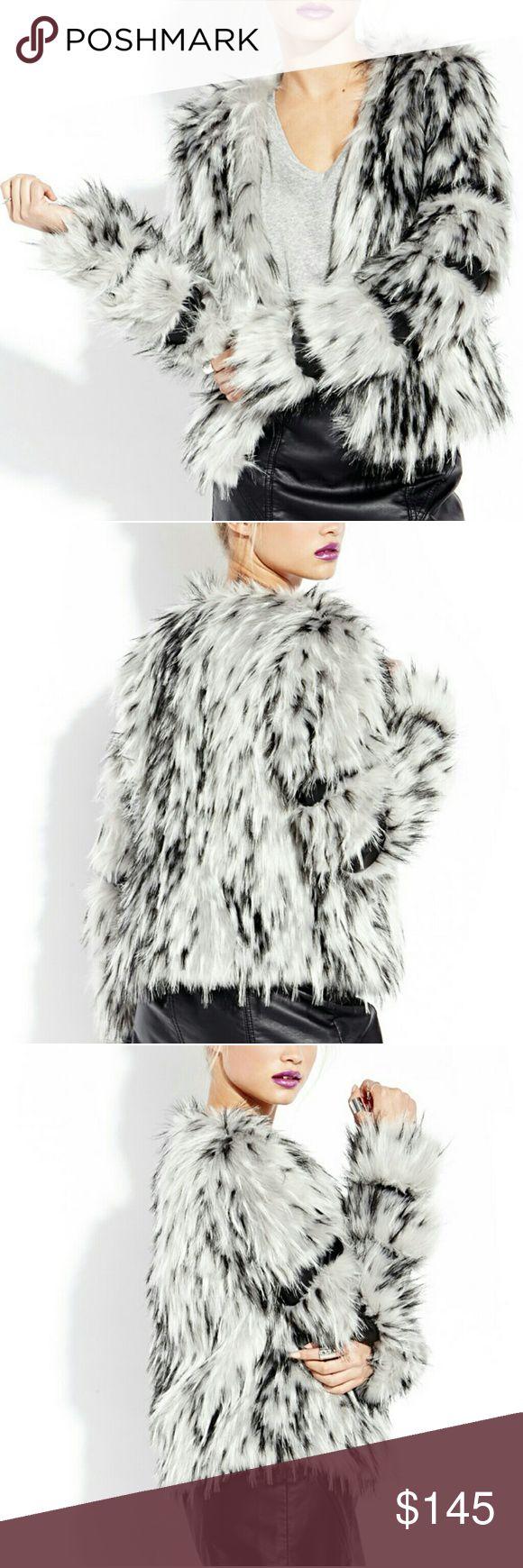 Black and white faux fur jacket CHOIES faux fur jacket NWOT. Sad to let this beauty go :( CHOIES Jackets & Coats