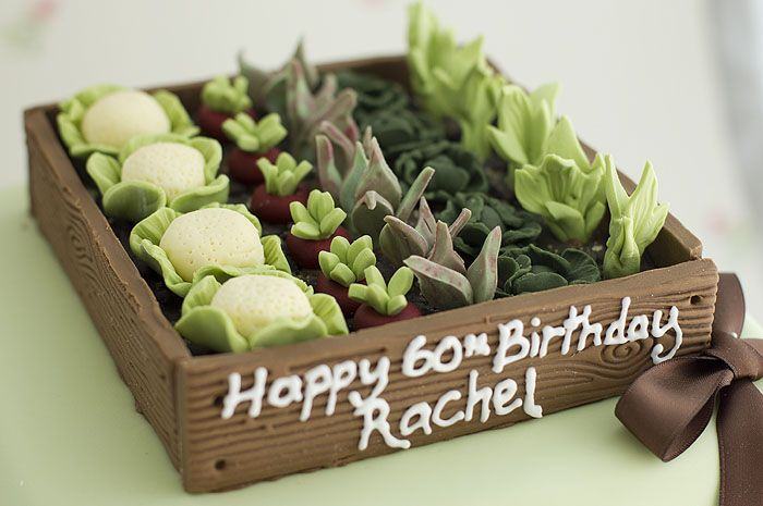 Cake for a gardener ~ This one is so much fun! I love all the little vegetables! ;D