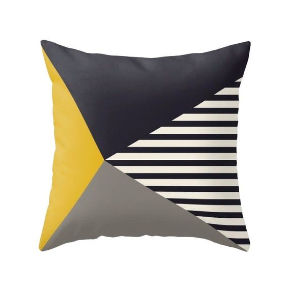 Geometric Pillow Covers Stripes Pillow Black White And Yellow Pillow Geometric Cushion Stripes Cushion Black And White Cushion Latte Home In 2020 Black And White Cushions Geometric Pillow Geometric Pillow Covers
