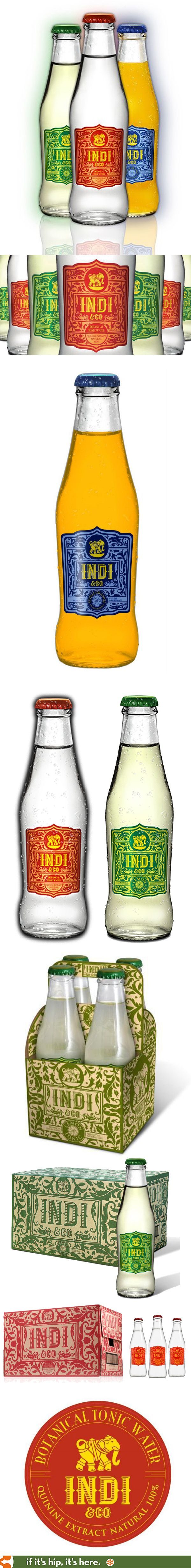 The beautiful bottles, packaging and branding for Indi & Co. Botanical Tonic Waters.