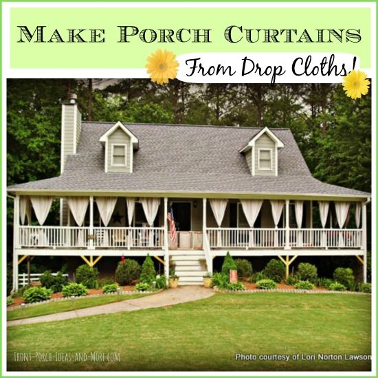 These outdoor curtains were made from painter drop cloths. A tutorial, courtesy of Traci from Beneath My Heart, is found on Front-Porch-Ideas-And-More.com #outdoorcurtains #porchcurtains #painterdropcloths #porch