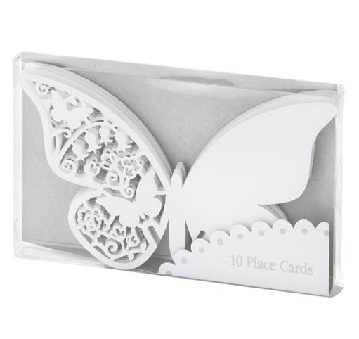 Hvide sommerfugle bordkort til bryllup - dreamparty.dk