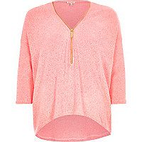 Coral knitted zip front top
