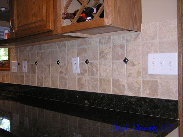tile backsplashes with granite countertops | Tumbled Stone