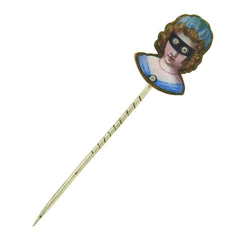 Victorian Gold Filled French Paste Masked Woman Enameled Stick Pin – A. Brandt + Son
