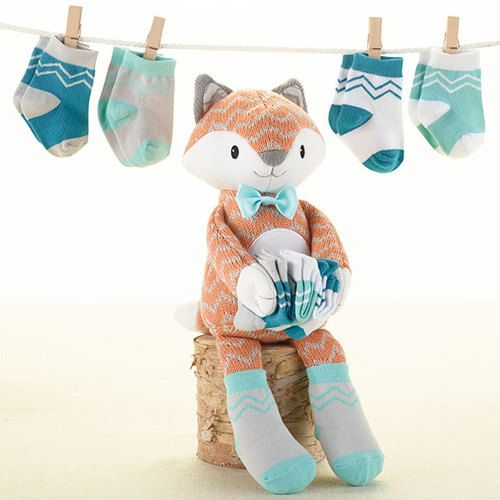 Baby Aspen Mr. Fox in Socks Plush Plus Socks for Baby