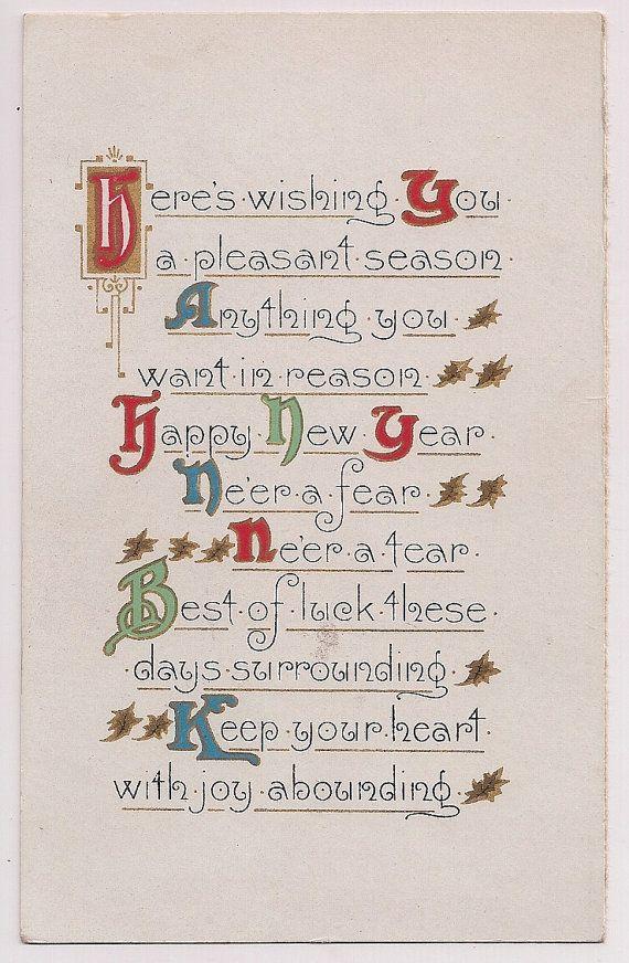 Antique Happy New Year Wish