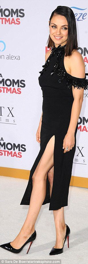 Strike a pose: The 34-year-old actress flaunted her toned legs in the halter frock, which ...