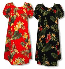 Made in Hawaii, U.S.A. MuuMuu Dress  Tropical Summer Hibiscus Hawaiian Kaftan, Caftan, Pull-Over Hawaiian House Dress with Petal Sleeves, pocket, Regular and Plus Sizes created in Black, Red and White/Beige. MauiShirts search box stock number : W-Q-140S-TR