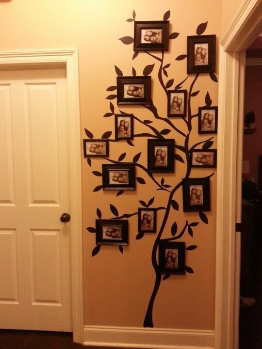 My family tree photo wall, walmart tree wall stick-up and dollar store frames