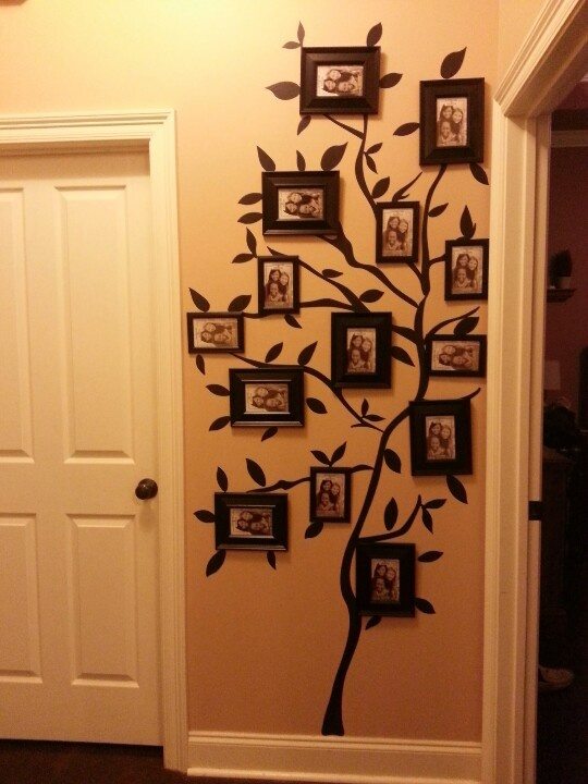 My family tree photo wall, walmart tree wall stick-up and dollar store frames