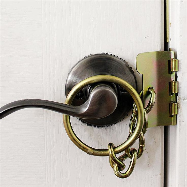 Developed by a retired police officer, this heavy-duty door chain goes on your door's strike plate (on the inside) for added strength. At Lehmans.com.