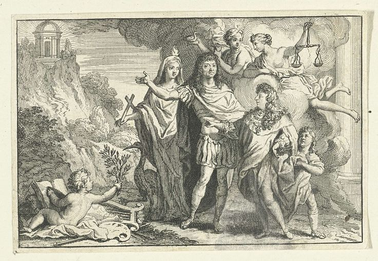 Gerard Edelinck   Allegorische voorstelling met Hoop en Justitia, Gerard Edelinck, 1652 - 1707   Groep personen, waaronder de Franse koning Lodewijk XIV, Hoop en Justitia, tegen een achtergrond van wolken en een berglandschap. Op de voorgrond een naakt kind met olijftak en schildersgerei.