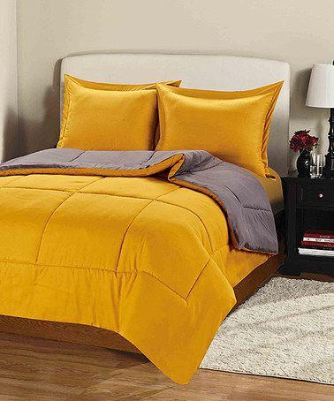 Love this Three-Piece Gray & Yellow Comforter Set on #zulily! #zulilyfinds