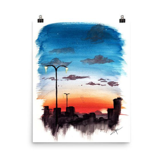 Watercolor Sunset City Painting Print In 2020 Watercolor Sunset