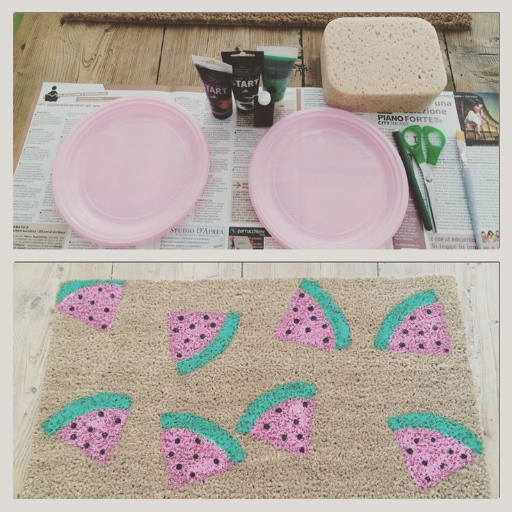 Handmade carpet with watermelon