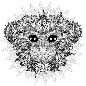Tatouage tête de couleur design du singe — Image vectorielle ...