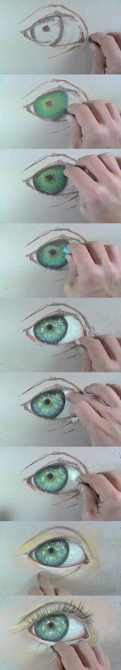 How to draw an eye with crayon | Как нарисовать глаз, рисуем пастелью