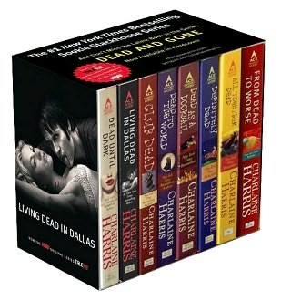 1-8 of the Sookie Stackhouse series by Charlaine Harris. SO good. If you don't like fantasy or sci fi, this is not for you. There are all kinds of non-human characters in these books. I LOVE them!