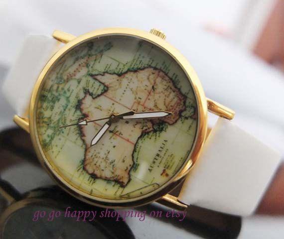 world map watch unisex watch leather watch by gogohappyshopping 799