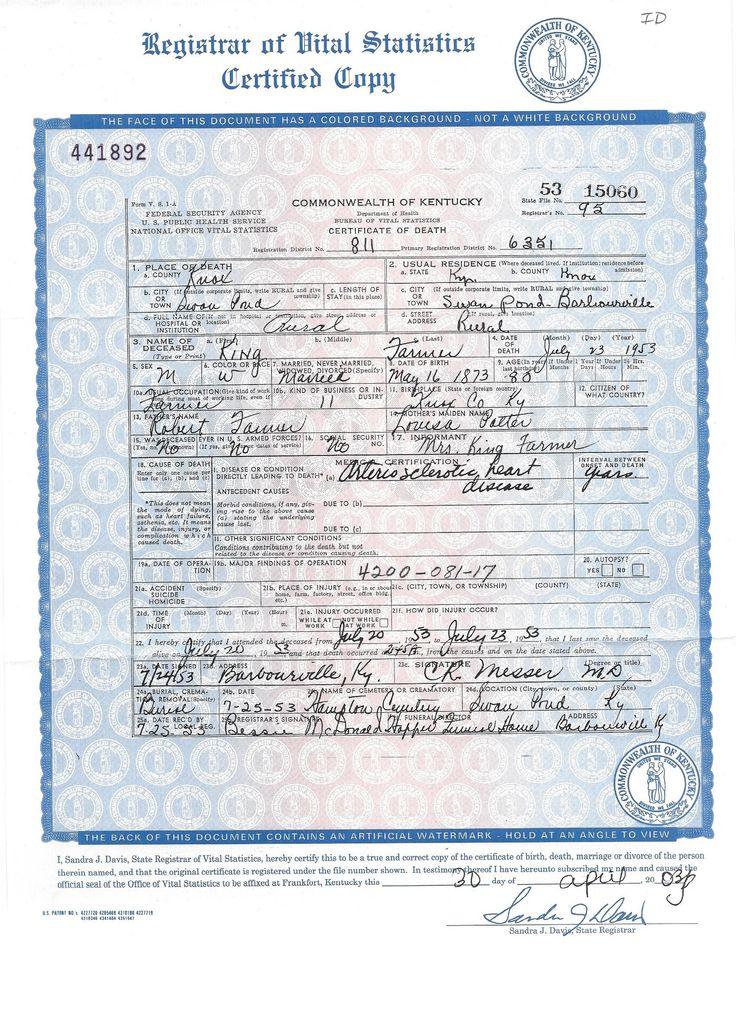 King Farmer - Death Certificate | Farmer Genealogy | Pinterest ...