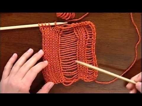 Seafoam stitch (knitting dropped stitch) video from Knitting Daily