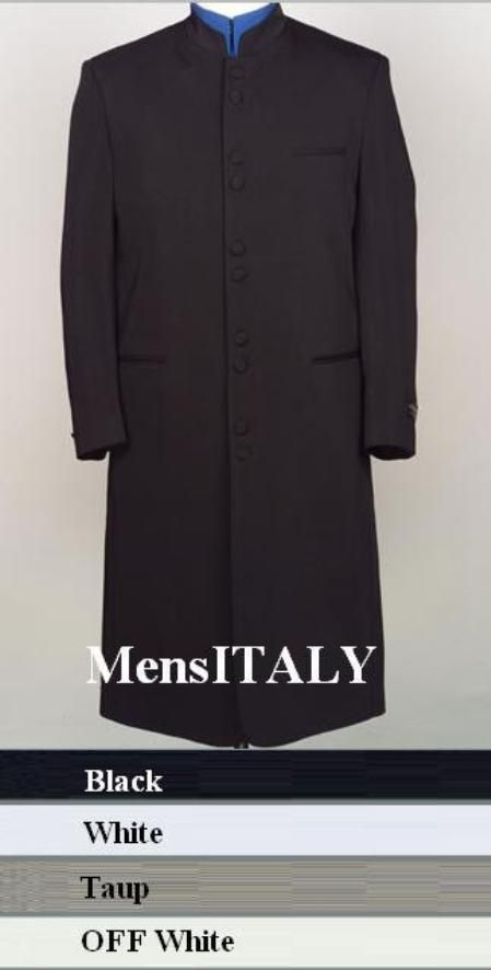 """SKU# HM45GA 10 Buttons Mandarin Collar 45"""" Long Jacket ITS ONE OF A KIND Come in 4 Colors $189"""