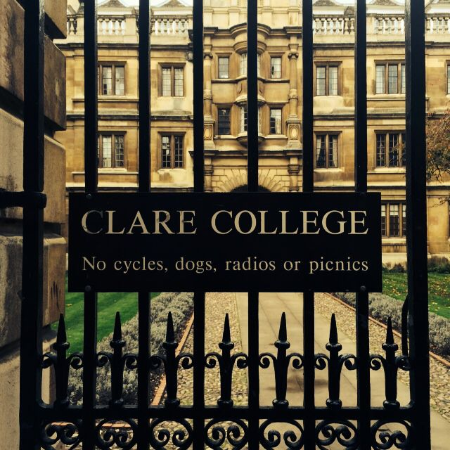 Gates to Clare College Cambridge