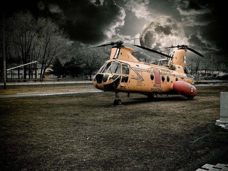 A discontinued rescue Helicopter on display at the Royal Canadian Air Force Museum in Trenton, Ontario, Canada.