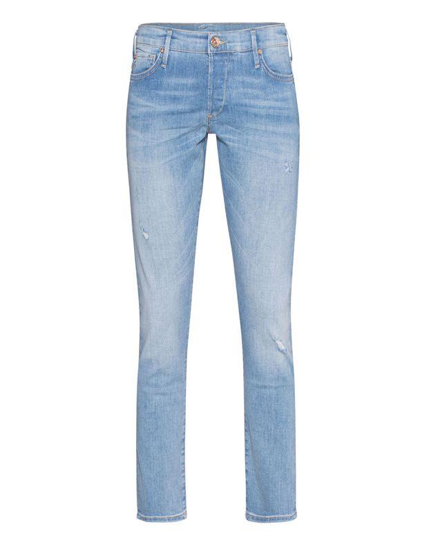 Relaxte Straight-Leg Jeans Hellblaue Straight-Leg Jeans mit Elasthan-Anteil im relaxten Schnitt mit Washed-Out Finish und subtilen Destroyed-Details, abgerundet von einer Signature-Stickerei auf den Gesäßtaschen sowie einem Label-Patch hinten.  Diese Jeans passt zu allem und gibt jedem Outfit einen relaxten Touch!