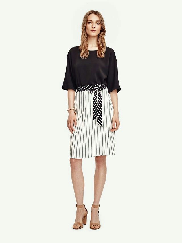 Ann Taylor Mixed Stripe Full Skirt #412142