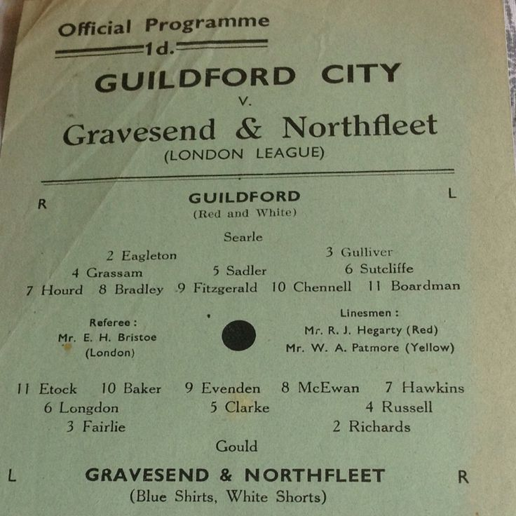Guildford city v Gravesend and Northfleet London League single sheet programme early 50s