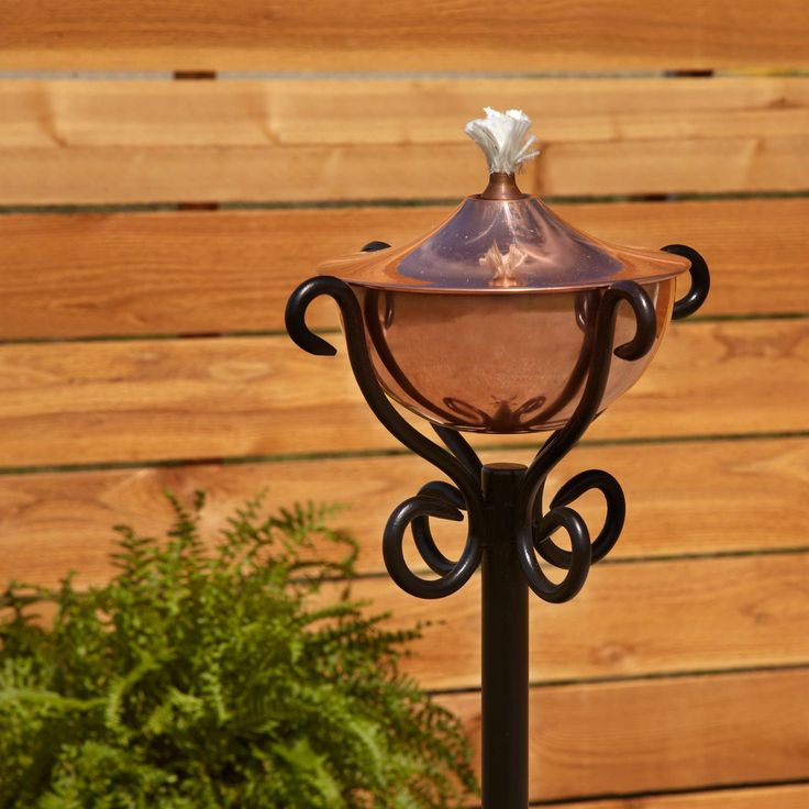 Artisan Polished Copper Garden Torch with Scroll Floor Stand - Polished Copper