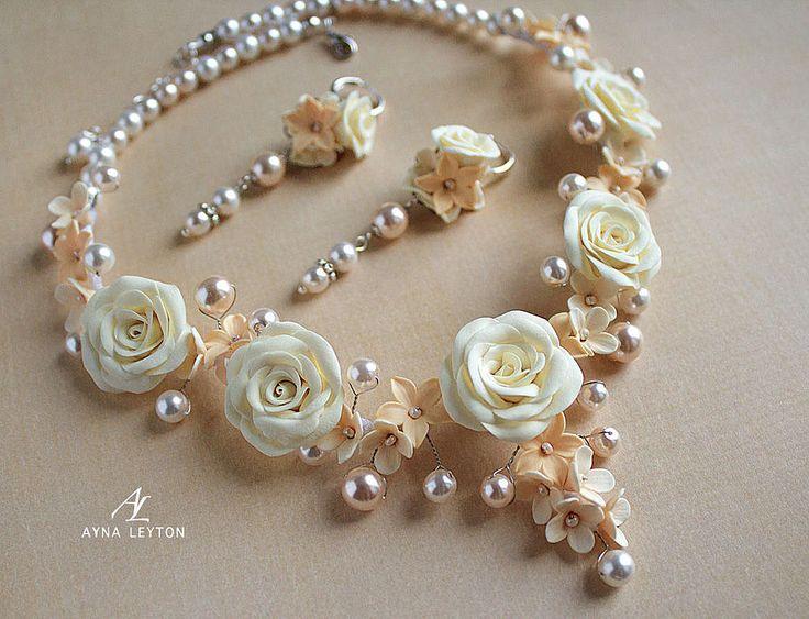 """Купить Свадебное. Комплект украшений """"Angel"""" - айвори, цвет слоновой кости, персиковый, кремовый"""