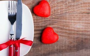 Обои вилка, сердечки, romantic, нож, бант, сервировка, love, heart