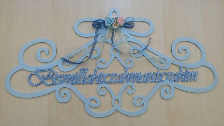Bismillahirrahmanirrahim 🎀 🎈 #besmele #duvarsüsü #mavi #fiyonk 🎀 🎈 #çiçek