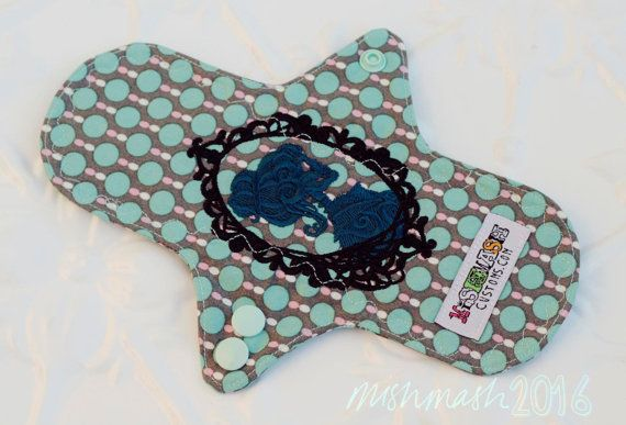 "Light 8.5"" Cameo Skeleton Cloth Pad topped with matching cotton"
