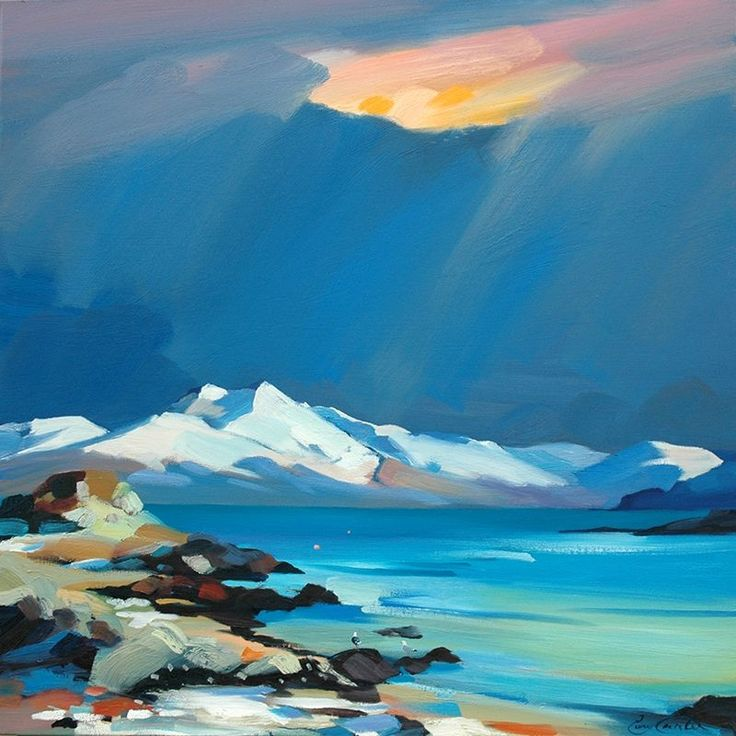 "Pam Carter - Snow In The Sound, Skye 32""x32"""