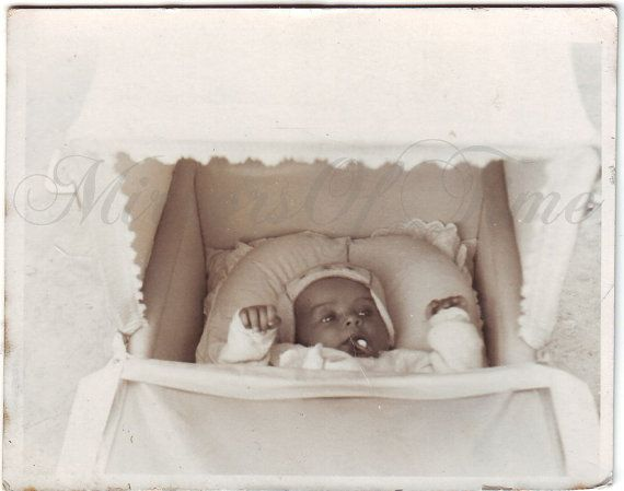 Vintage Photo  Baby photo  Child in baby carriage  Vintage