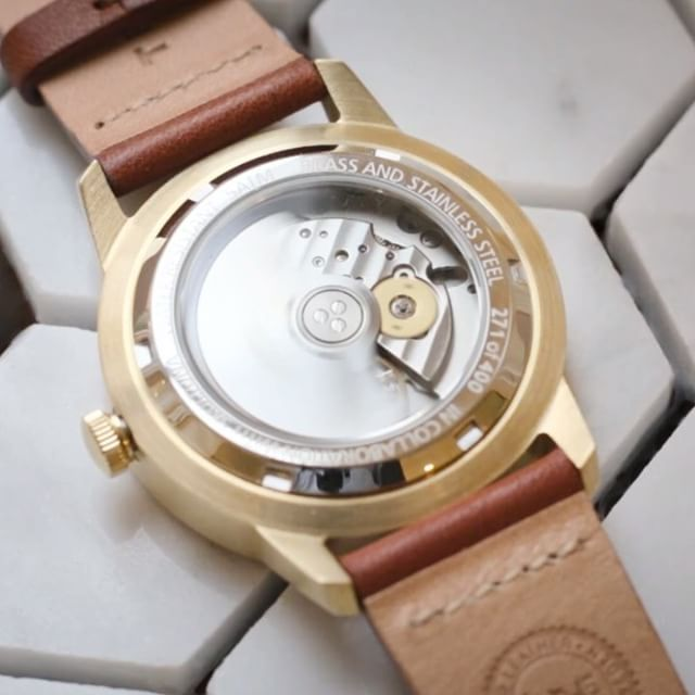 TRIWAxSKULTUNA, the transparent mineral glass back plate lets you see the time pass inside the automatic movement.  Shop at TRIWA.COM