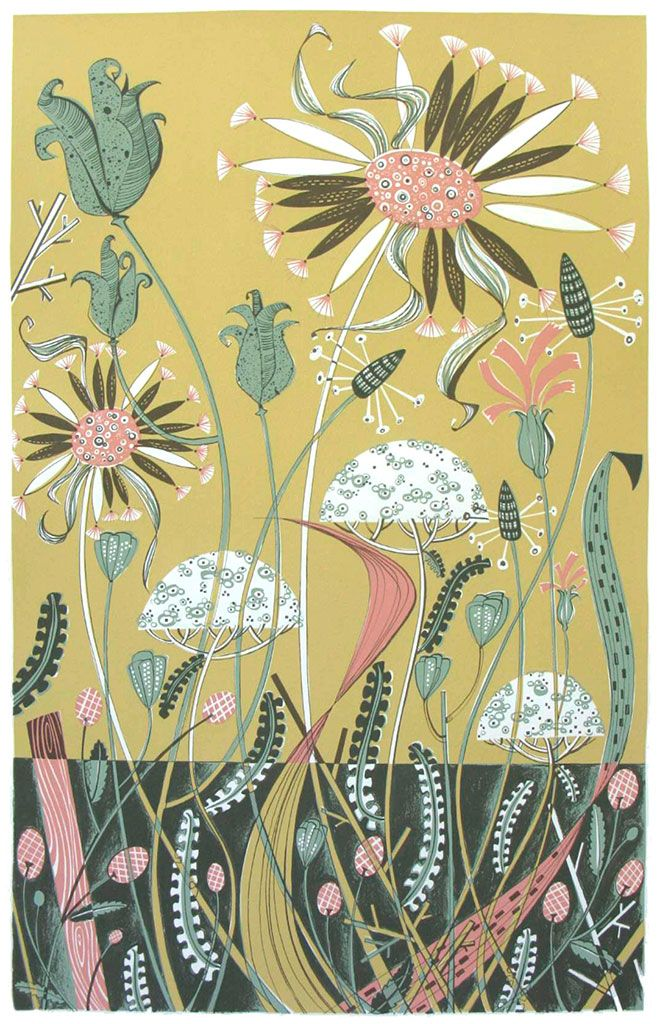 """Angie Lewin """"Wild Garden II"""" limited edition screen print http://www.angielewin.co.uk/collections/current-prints/products/wild-garden-ii"""